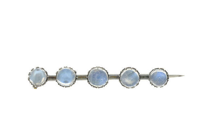 An early 20th century silver moonstone bracelet and brooch.