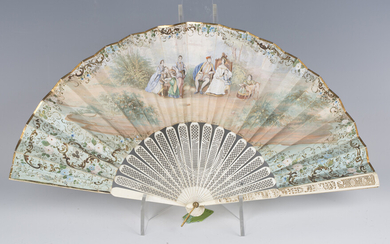 An early/mid-19th century Canton ivory and painted paper folding fan, the two guards finely carved w