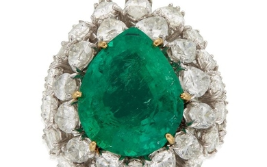 An emerald and diamond ring set with a pear-shaped...