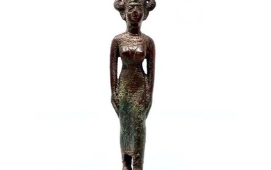 Ancient Egyptian Solid Bronze Figure of Satet Kushite Ex. Gustave Jequier (1868-1946);Ex. Maguid Sameda w/original handwritten COA - 16×2×6 cm