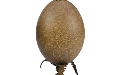 Antique, 19th Century Cassowary Egg with brass fittings on finial stand - Casuarius casuarius - 220×100×100 mm - non-CITES species