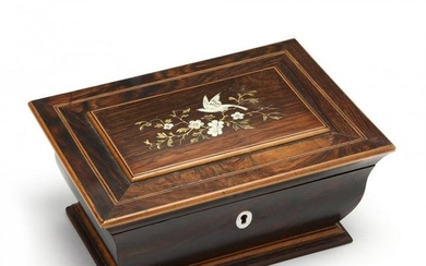 Antique English Inlaid Rosewood Jewelry Casket
