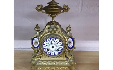 Antique French ormalu clock with porcelain panels height app...