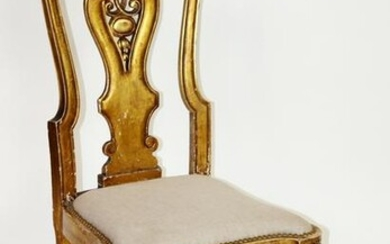 Antique Italian gold leaf side chair