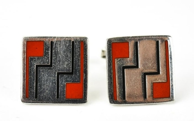 Art Deco Style Simmons Sterling Enamel Cuff Links