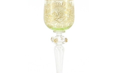 Attributed to Moser, Bohemian wine glass with gilt foliate b...