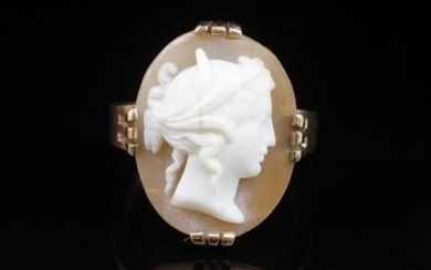 Australian 9ct rose gold and carved cameo ring marked NSW Ko...