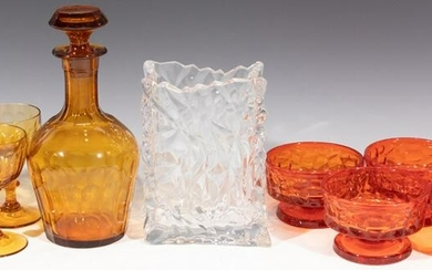 BLOWN GLASS DECANTER, GLASSES, BOWLS AND VASE