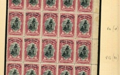 Belgian Congo 1909 - Mols issue - 5fr carmine with local overprint 'Congo Belge' - Block of 25 - OBP / COB 38 L