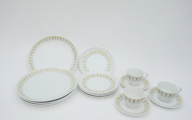 "Bibi Breger, Stig Lindberg: ""Lotus Yellow"" A porcelain lunch and coffee service. Gustavsberg. (15)"