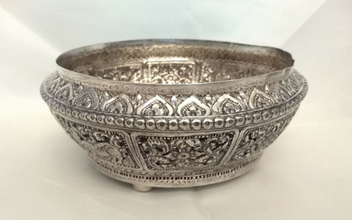 Bowl - Silver - Shan States British Colonial - Burma - Early 20th century