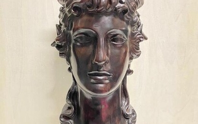 Bust, Two-faced head of man and bucrania - 50 cm - Bronze - Late 20th century