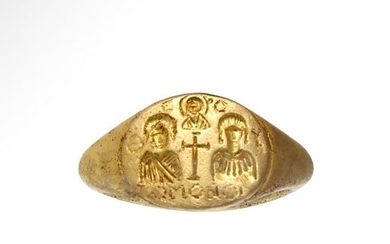 Byzantine Gold Wedding Ring with Bride and Groom and