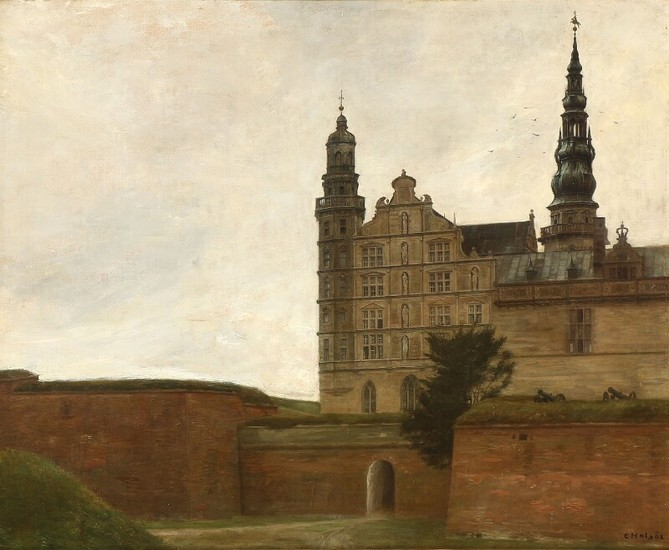 Carl Holsøe: View from Kronborg Castle in Elsinore. Signed C. Holsøe. Oil on canvas. 70×86 cm.