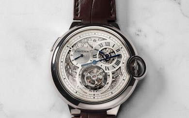 Cartier, Ref. 3321 A rare and attractive white gold jumping dual time limited edition wristwatch with flying tourbillon, regulator-style dial, original certificate and presentation box