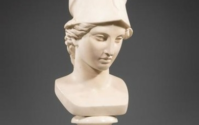 Carved White Marble Bust of Athena
