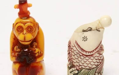 Chinese Auspicious Figural Snuff Bottles, 2