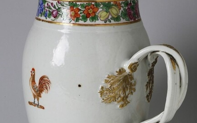 Chinese Export Cider Jug with Hand Painted Roosters and Floral Band Decoration, 18th Century