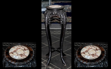 Chinese Hard Wood Antique Marble Top Urn Stand profusely car...