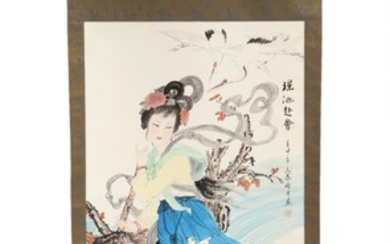 Chinese artists, 20th century: Two Chinese hanging scrolls. Watercolour on paper. Picture 130×65 and 117×60 cm. (2)
