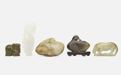 Chinese, jade carvings, collection of five