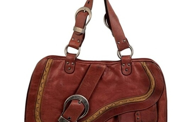 Christian Dior - Brown Leather Gaucho Double Saddle Tote bag