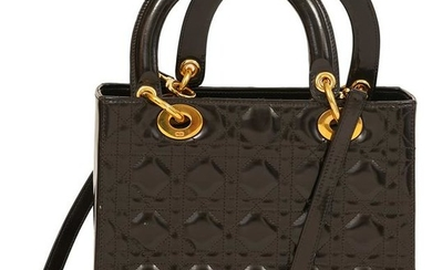 Christian Dior Brown Patent Lady Dior Bag