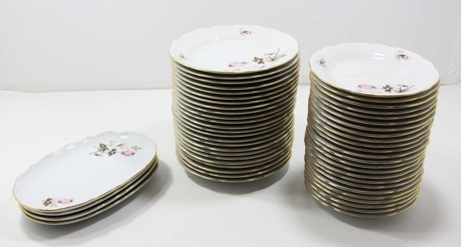 Collection of German Porcelain Plates Decorated with a Rose Pattern