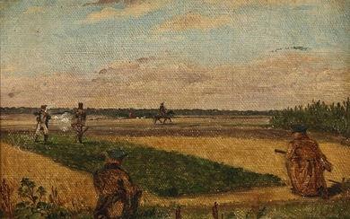 Constantin Hansen: A hare hunt depicting Roed and Constantin Hansen. C. 1827–28. Unsigned. Oil on canvas laid on canvas. 15×21 cm.