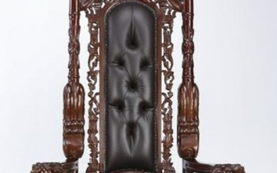 "Contemporary carved mahogany throne chair, 70""h"