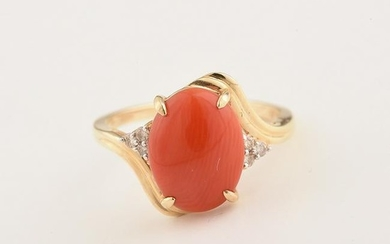 *Coral, Diamond, 14k Yellow Gold Ring.