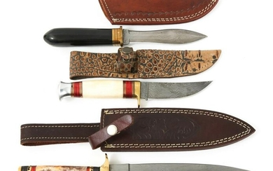 DAMASCUS BLADE KNIVES IN LEATHER SHEATHS LOT OF 3