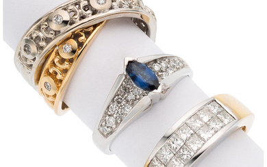 Diamond, Sapphire, Gold Rings The lot includes a ring...
