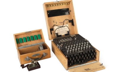 "ENIGMA M4 | A FULLY OPERATIONAL FOUR-ROTOR (""M4"") KRIEGSMARINE ENIGMA CIPHER MACHINE. BERLIN-WILMERSDORF, GERMANY, HEIMSOETH UND RINKE, 1942, SEIZED FROM THE BAUAUFSICHT DER KRIEGSMARINE IN TRONDHEIM, NORWAY, AFTER THE CAPITULATION OF NAZI FORCES THERE..."