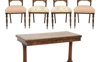English Card Table & Four Chairs
