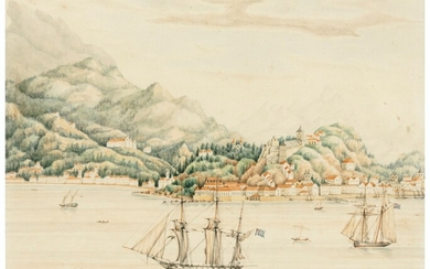 English School, circa 1840, HMS Spider and HMS Rose at anchor in Guanabara Bay off Rio de Janeiro, Corcovado beyond