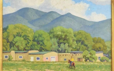 FRED DARGE (1900-1978) 'HOUSE IN TAOS' PAINTING