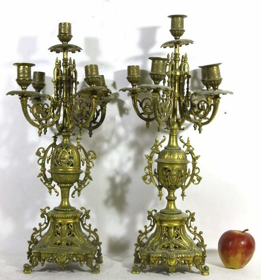 FRENCH ANTIQUE GILT BRONZE CANDLEABRA PAIR