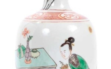 Fine antique Chinese famille verte porcelain baluster vase, Kangxi style but probably later, decorated with a scene of children playing, 21cm height