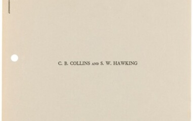 First edition of Hawking's analysis of the cosmological principle, Stephen Hawking and C.B. Collins. 1973