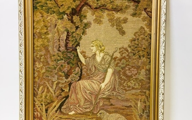 Framed Needlepoint Tapestry of a Shepherdess, ht. 32, wd. 25 3/4 in.