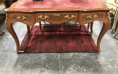 French Style 3 Drawer Desk With Leather Top (343)