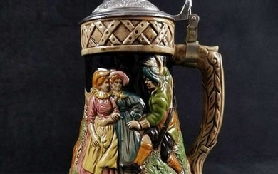 German Musical Beer Stein with 3 Dancing People and 3