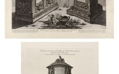 "Giovanni Battista PIRANESI (1720-1778) ""Antique funerary urns and lamps"" and ""Funerary urn from the Quirinal garden"", pl. of the Vasi suite, candelabri, cippi. Eaux-fortes. Ficacci 737 and 842. Two beautiful prints on laid paper. 41 x 65 cm (53 x 77..."