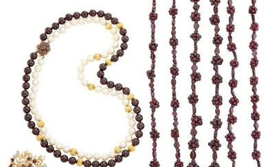 Group of Garnet, Cultured and Freshwater Pearl and Gold Jewelry