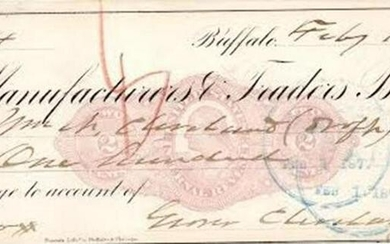 Grover Cleveland Scarce Signed Check, Paid to His Older