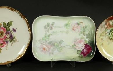 HAND-PAINTED TRAY & PLATES, INCLUDES LIMOGES