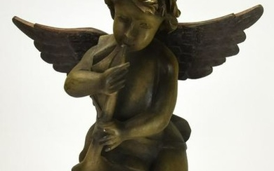 Hand Carved Wood Putti Playing Horn Statue