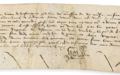 Henry VI's marriage to Margaret of Anjou & the Treaty of Mantes.- Hoo (Thomas, Baron Hoo and Hastings) Declaration concerning the negotiations between Henry VI and Charles VII for a general truce resulting in the Treaty of Mantes, Mantes, 21st...