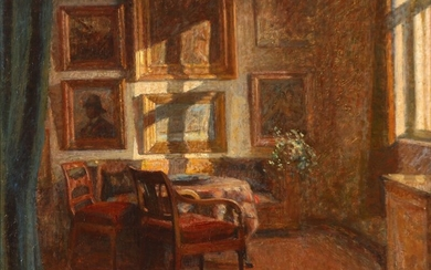 Hugo Larsen: Interior from the artist's home. Signed and dated Hugo Larsen 1945. Oil on canvas. 66×77 cm. + A book on the artist. (2).